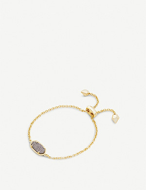 KENDRA SCOTT Elaina 14ct gold-plated and platinum drusy bracelet