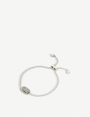 KENDRA SCOTT Elaina rhodium-plated and platinum drusy chain bracelet