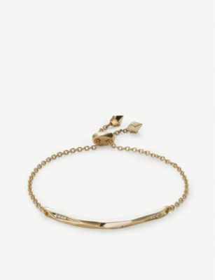 KENDRA SCOTT Angela 14ct gold-plated and cubic zirconia chain bracelet