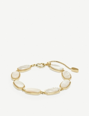 KENDRA SCOTT Millie 14ct gold-plated and mother-of-pearl bracelet