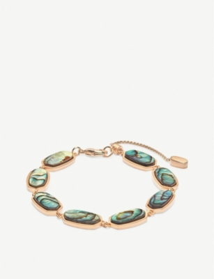 KENDRA SCOTT Millie 14ct rose gold-plated and abalone shell bracelet