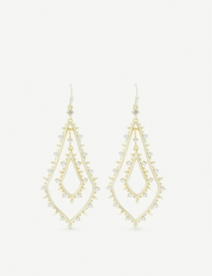 KENDRA SCOTT Alice 14ct gold-plated and cubic zirconia earrings