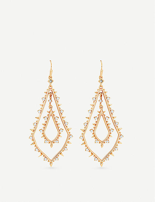 KENDRA SCOTT Alice 14ct rose gold-plated and cubic zirconia earrings