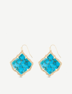 KENDRA SCOTT Kirsten 14ct gold-plated and bronze veined turquoise magnesite stone drop earrings