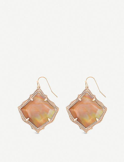 KENDRA SCOTT Kirsten 14ct gold-plated and brown mother-of-pearl drop earrings