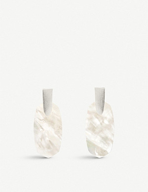 KENDRA SCOTT Aragon silver-plated and mother-of-pearl earrings