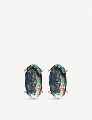 KENDRA SCOTT Betty 14ct rose gold-plated and abalone shell earrings