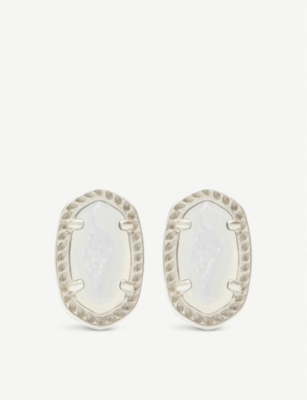 KENDRA SCOTT Emery rhodium-plated and ivory mother-of-pearl earrings