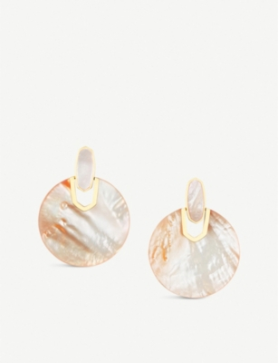 KENDRA SCOTT Didi 14ct gold-plated and peach mother-of-pearl earrings