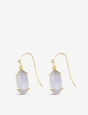 KENDRA SCOTT Lemmi 14ct gold-plated and slate cats eye drop earrings