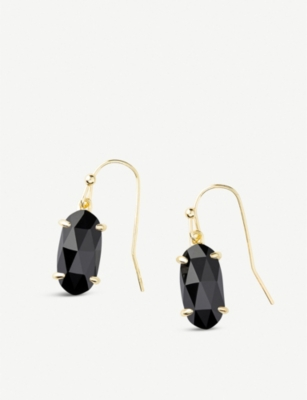 KENDRA SCOTT Lemmi 14ct gold-plated and black glass drop earrings