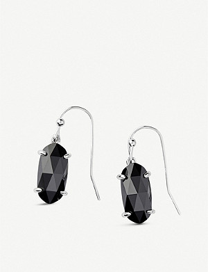 KENDRA SCOTT Lemmi rhodium-plated and black glass drop earrings