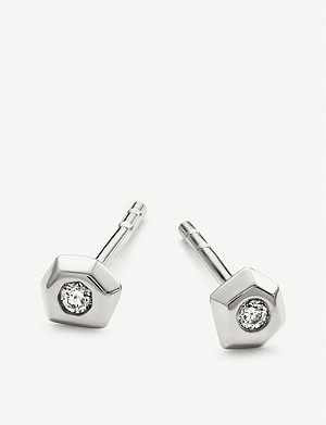 KENDRA SCOTT Janiya 14ct white-gold plated and white diamond stud earrings