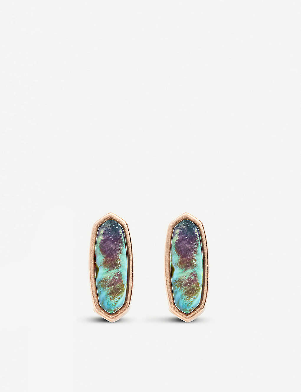 93949f4e5 KENDRA SCOTT Mae 14ct rose-gold plated stud earrings in abalone shell