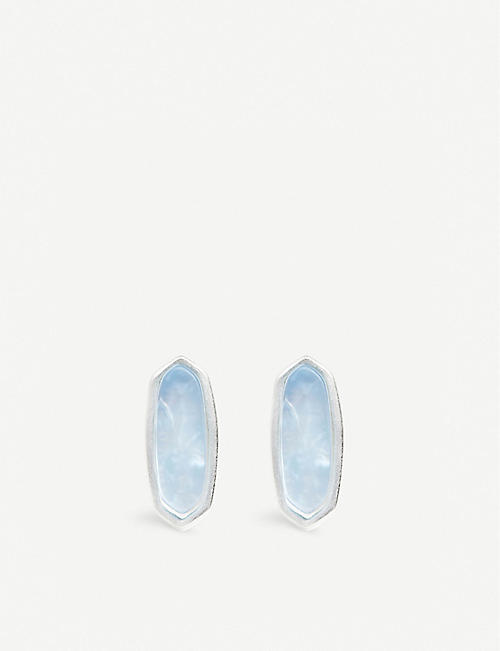 7510cd466 KENDRA SCOTT Mae 14ct silver-plated stud earrings in sky blue illusion