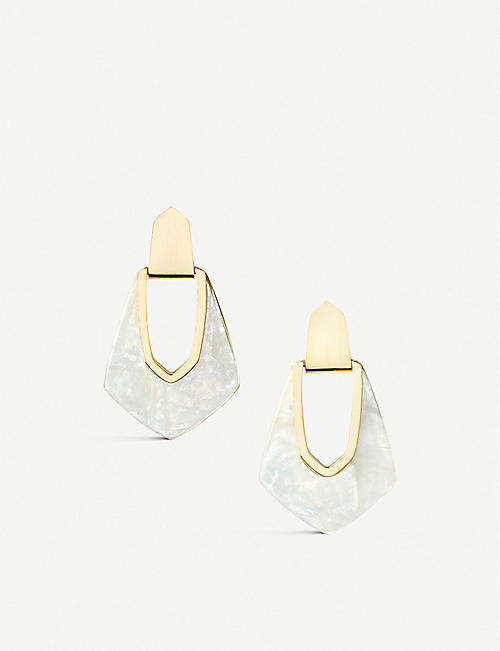 3943b1a3b KENDRA SCOTT Kensley 14ct gold-plated and mother-of-pearl earrings