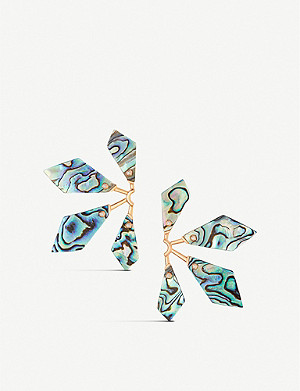 KENDRA SCOTT Malika 14ct rose gold-plated brass and abalone shell earrings