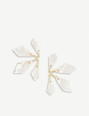 KENDRA SCOTT Malika 14ct yellow gold-plated brass and mother of pearl earrings