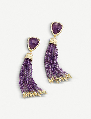 KENDRA SCOTT Blossom 14ct gold-plated and amethyst stone earrings