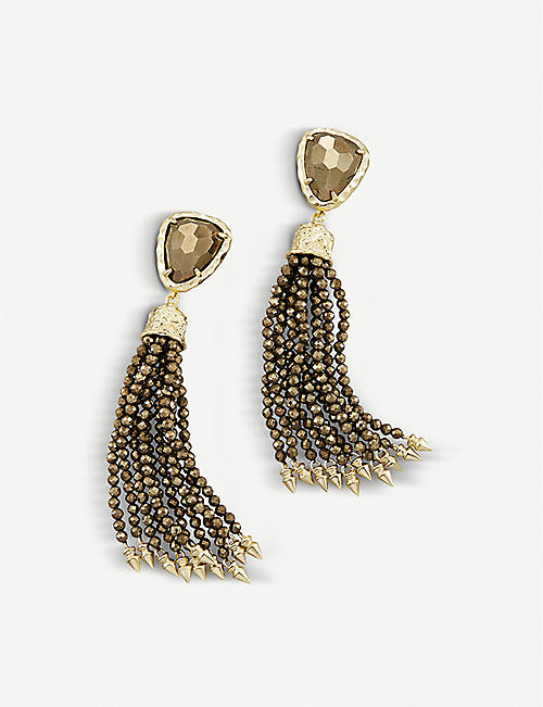 KENDRA SCOTT Blossom 14ct gold-plated and pyrite stone earrings
