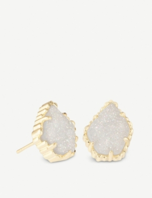 KENDRA SCOTT Tessa 14ct gold-plated and iridescent drusy earrings