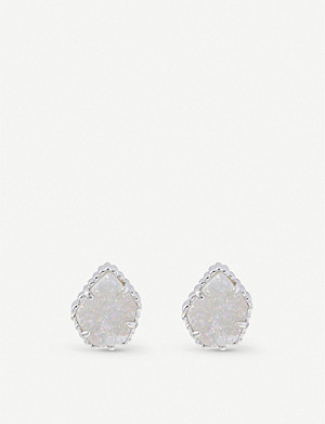 KENDRA SCOTT Tessa rhodium-plated and iridescent drusy earrings