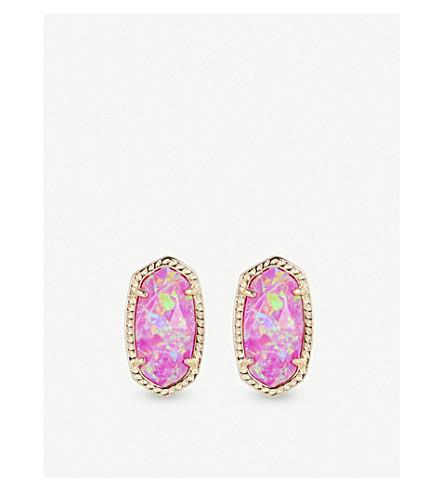 4fbac49b9 KENDRA SCOTT Ellie 14ct gold-plated Fuschia Kyocera Opal stud earrings