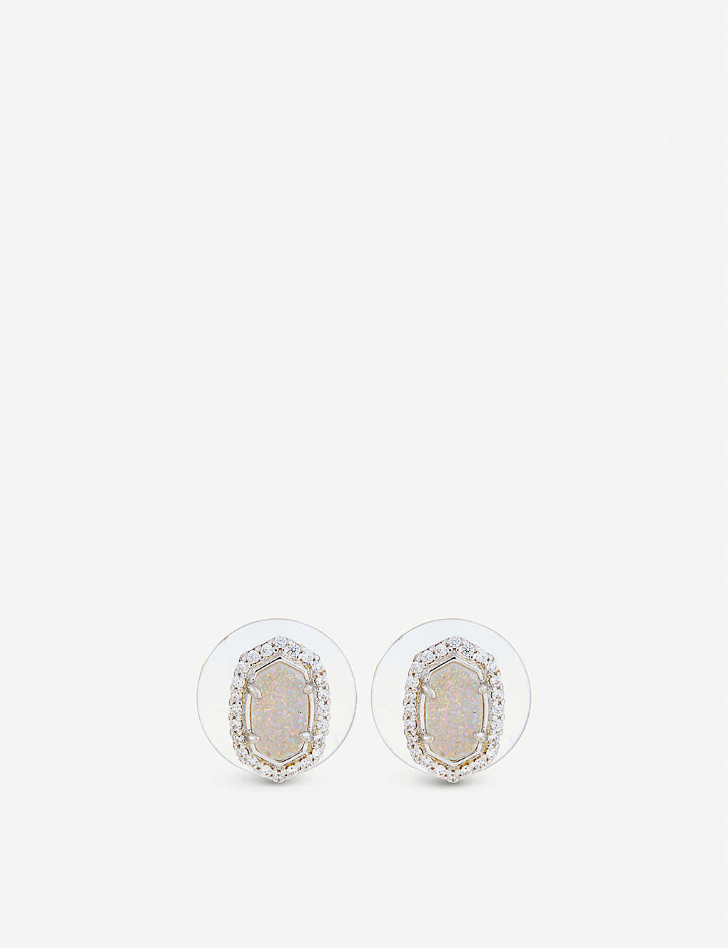 46abbcaaa KENDRA SCOTT Cade rhodium-plated, iridescent drusy and cubic zirconia  earrings