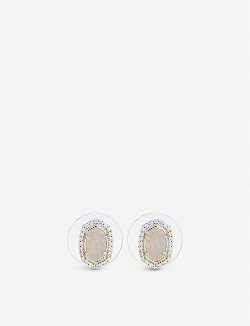 KENDRA SCOTT Cade rhodium-plated, iridescent drusy and cubic zirconia earrings