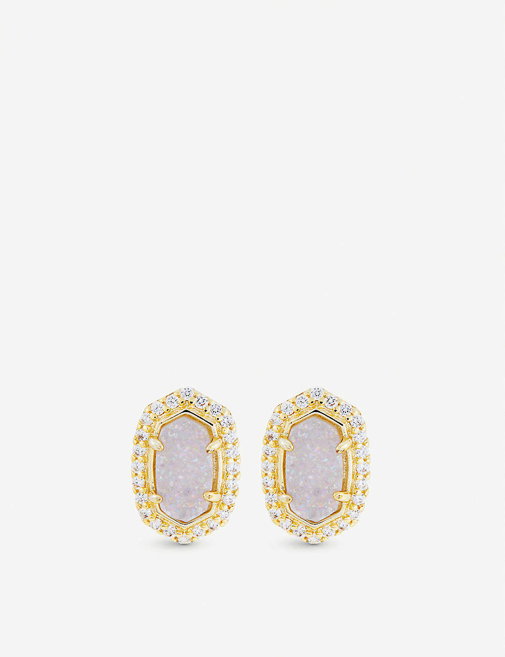 b5e9449ad KENDRA SCOTT Cade 14ct yellow gold-plated, iridescent drusy and cubic  zirconia earrings