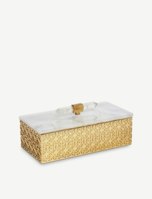 KENDRA SCOTT Filigree brass-plated and mother-of-pearl box 19cm