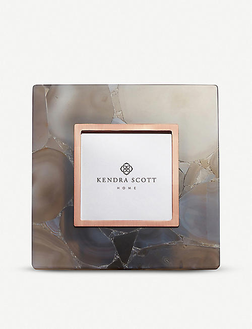 KENDRA SCOTT: Agate and 14ct rose-gold plated metal square photo frame 20x20cm