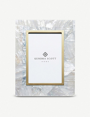 KENDRA SCOTT Brass-plated and white mother-of-pearl photo frame 22cm x 17cm