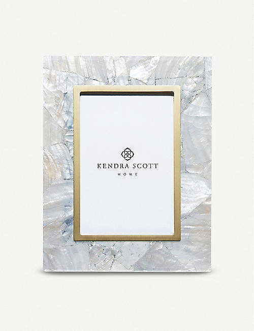 KENDRA SCOTT: Brass-plated and white mother-of-pearl photo frame 22cm x 17cm