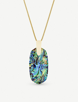 KENDRA SCOTT Inez 14ct gold-plated and abalone shell necklace