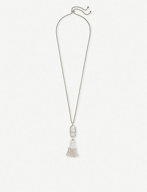 KENDRA SCOTT Eva silver-plated and ivory mother-of-pearl pendant necklace