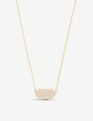 KENDRA SCOTT Ever 14ct yellow gold-plated and iridescent drusy necklace