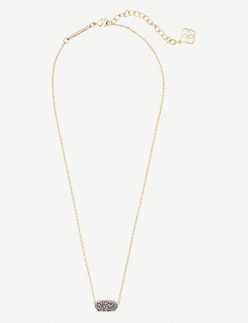 KENDRA SCOTT Ever 14ct yellow gold-plated and platinum drusy necklace