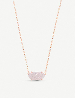 KENDRA SCOTT Ever 14ct rose gold-plated and iridescent drusy necklace