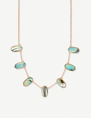 KENDRA SCOTT Meadow 14ct rose gold-plated and abalone shell necklace