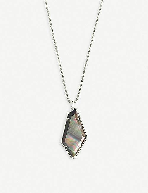 KENDRA SCOTT Lilith silver and black mother-of-pearl necklace