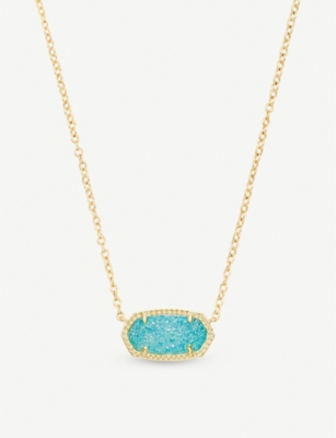KENDRA SCOTT Elisa 14ct gold-plated and teal drusy pendant necklace