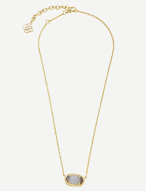 KENDRA SCOTT Elisa 14ct gold-plated and slate cat's eye stone necklace
