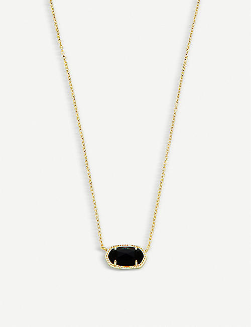 KENDRA SCOTT: Elisa 14ct gold-plated and black opaque glass necklace