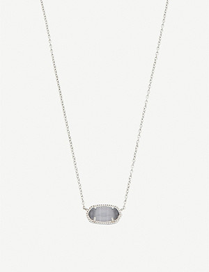 KENDRA SCOTT Elisa 14ct gold-plated and slate cat's eye necklace