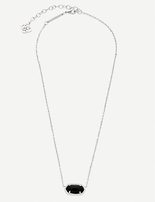 KENDRA SCOTT Elisa rhodium-plated and black drusy necklace