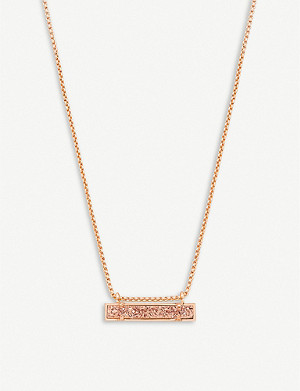 KENDRA SCOTT Leanor 14ct rose-gold plated gold drusy bar pendant necklace