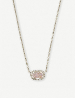 KENDRA SCOTT Chelsea rhodium-plated and iridescent drusy stone necklace