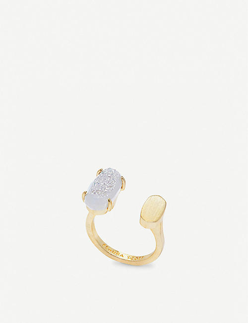KENDRA SCOTT Pryde 14ct gold-plated brass ring in iridescent drusy