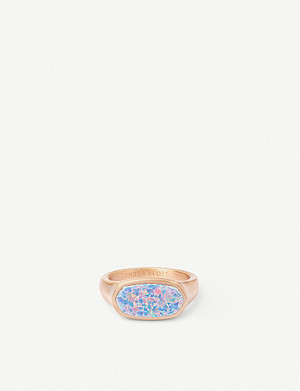 KENDRA SCOTT Mel 14ct rose gold-plated and Kyocera opal ring